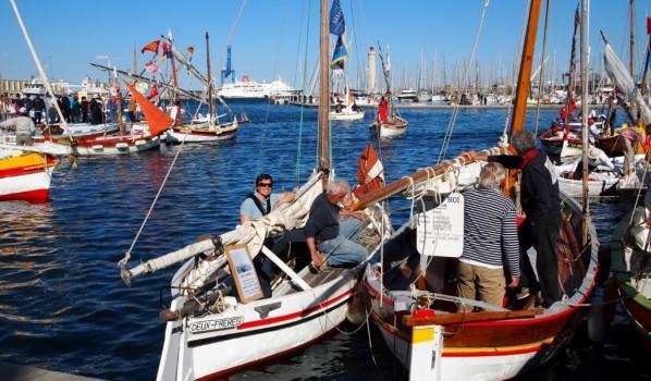 Six bateaux traditionnels de la Nautique à Escale à Sète